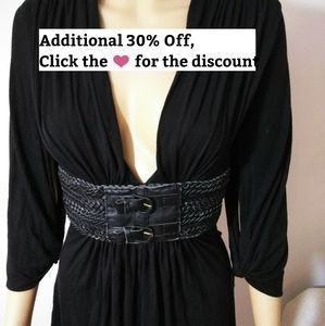 SKY, Black VNeck Tunic with Leather